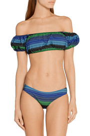 Lisa Marie Fernandez Leandra off-the-shoulder striped stretch cotton-blend bikini
