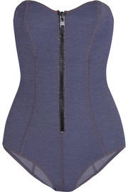 The Leigh stretch-denim swimsuit
