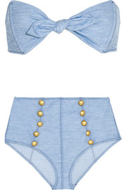Poppy denim-effect bikini