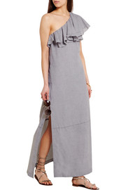 Arden one-shoulder ruffled chambray maxi dress