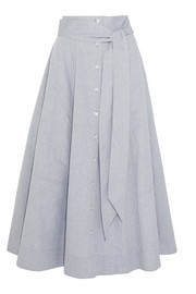 Patchwork cotton-chambray skirt