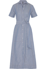 Patchwork cotton-chambray shirt dress