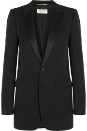 Saint Laurent Satin-trimmed wool tuxedo blazer