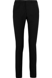 Satin-trimmed wool slim-leg pants