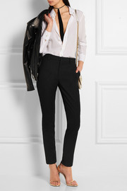 Saint Laurent Satin-trimmed wool slim-leg pants