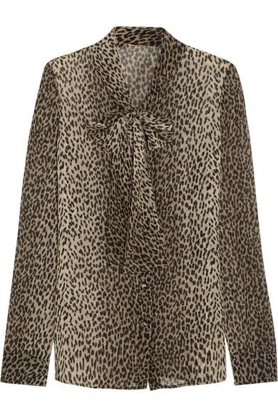 Saint Laurent - Pussy-bow Leopard-print Silk-georgette Shirt - Leopard print