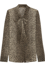 Pussy-bow leopard-print silk-georgette shirt