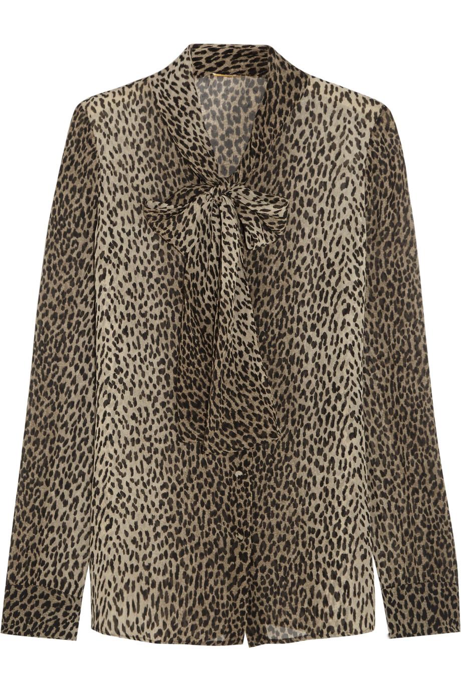 Saint Laurent Pussy-Bow Leopard-Print Silk-Georgette Shirt, Leopard Print, Women's, Size: 42