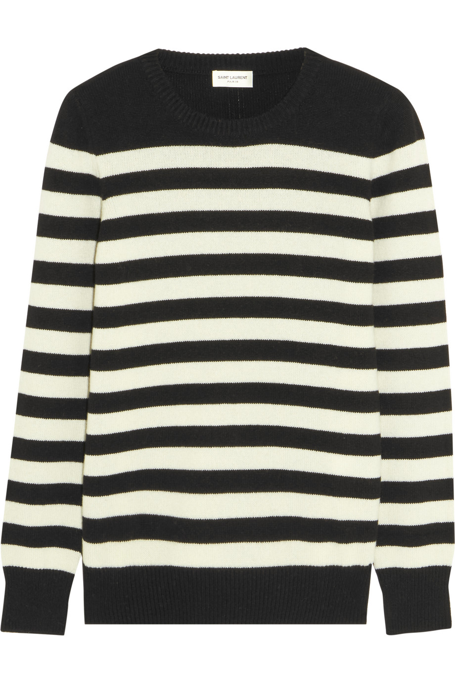 Saint Laurent Striped Cashmere Sweater, Black, Women's, Size: XS