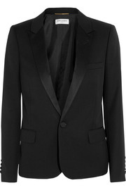 Saint Laurent Satin-trimmed wool-piqué tuxedo blazer