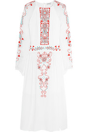 Lupita embroidered tulle-paneled silk-crepe dress