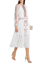Temperley London Lupita embroidered tulle-paneled silk-crepe dress