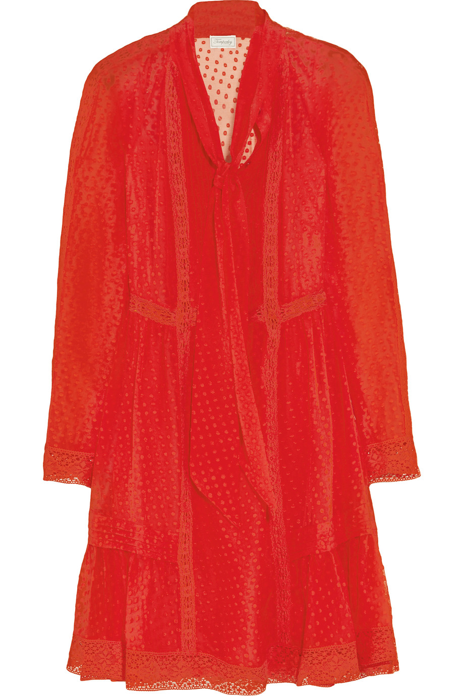 Holzer Lace-Trimmed Fil Coupé Silk-Voile Mini Dress, Temperley London, Red, Women's - Dotted, Size: 6