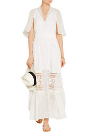 Temperley London Holzer lace-paneled fil coupé silk-voile maxi dress