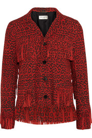 Saint Laurent Fringed leopard-print suede jacket