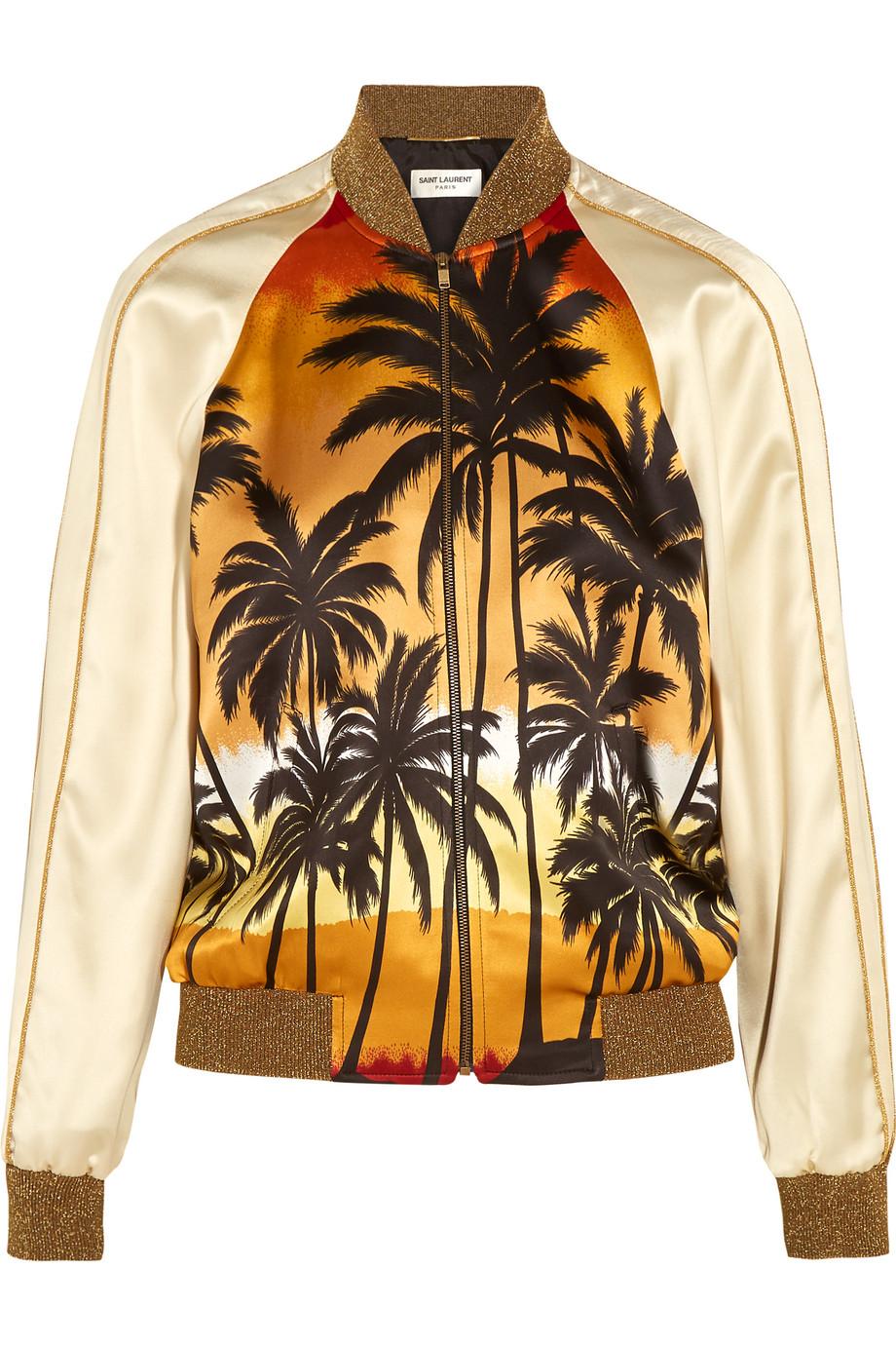 Saint Laurent Printed Satin Bomber Jacket, Size: 36