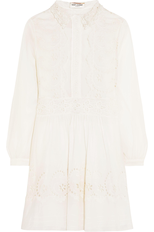SAINT LAURENT Prairie broderie anglaise cotton mini dress
