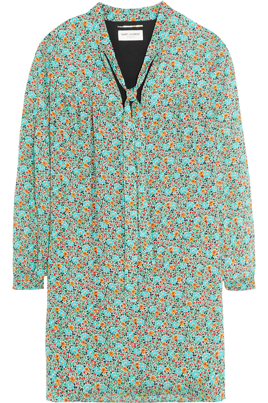Saint Laurent Prairie Pussy-Bow Printed Voile Mini Dress, Green, Women's - Printed, Size: 34