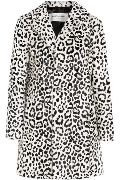 Saint Laurent - Leopard-print Goat Hair Coat - Black