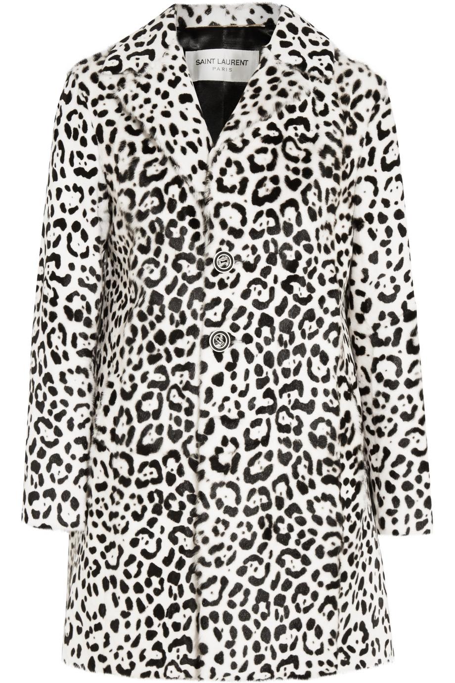 Saint Laurent Leopard-Print Goat Hair Coat, Black/Leopard Print, Women's, Size: 34