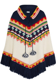 Saint Laurent Fair Isle intarsia wool-blend poncho