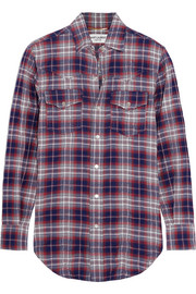 Plaid cotton-blend shirt