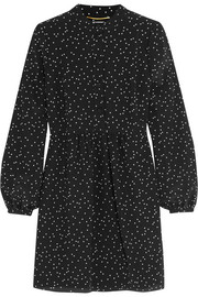 Saint Laurent Polka-dot silk crepe de chine mini dress
