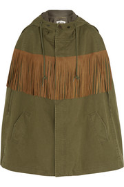 Fringed suede-trimmed cotton and linen-blend twill cape