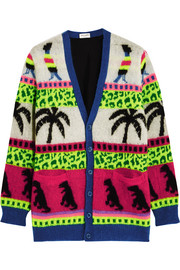 Saint Laurent Intarsia mohair-blend cardigan