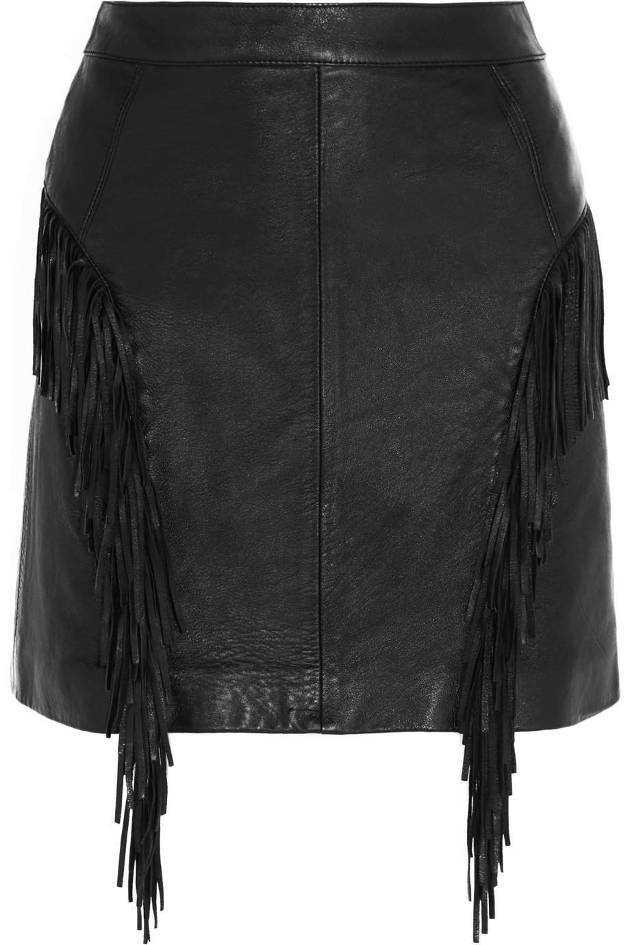Saint Laurent Fringed Leather Mini Skirt, Black, Women's, Size: 34