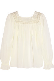 Saint Laurent Gaze crochet-trimmed gauze blouse