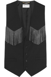 Studded leather-fringed wool-blend vest