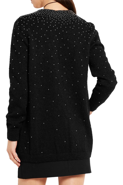 SAINT LAURENT Oversized studded mohair-blend cardigan