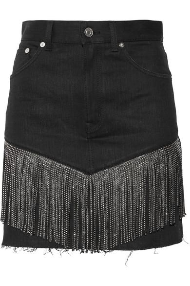 Saint Laurent - Studded Leather-fringed Denim Mini Skirt - Black