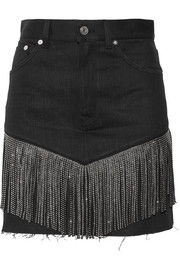 Studded leather-fringed denim mini skirt