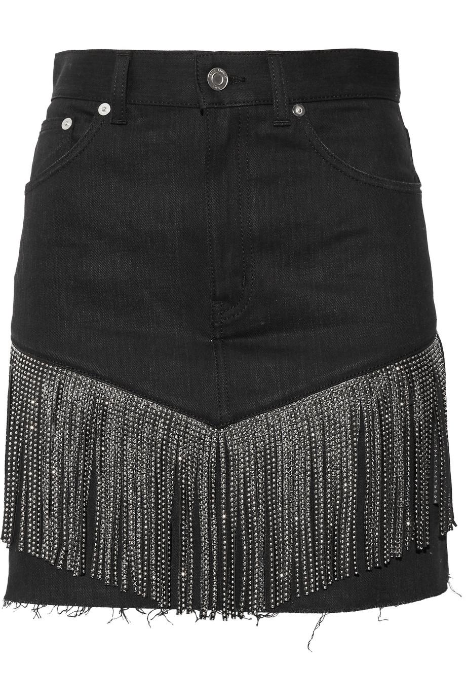 Saint Laurent Studded Leather-Fringed Denim Mini Skirt, Black, Women's, Size: 25
