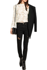 Saint Laurent Corded guipure lace top