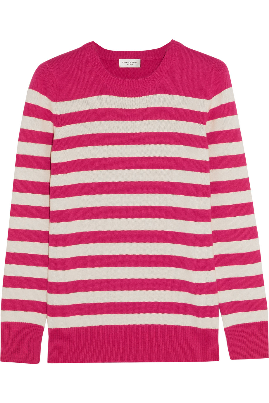 Saint Laurent Striped Cashmere Sweater, Fuchsia, Women's, Size: XL