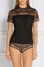 Madame lace and silk-georgette bodysuit