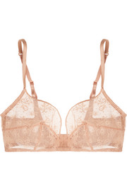 Charivari Grabuge Leavers lace and silk-blend satin soft-cup bra