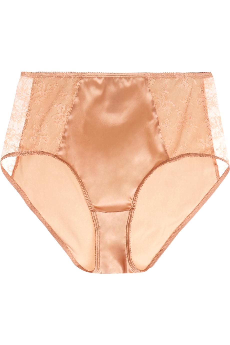 Eres Charivari Leavers Lace-Paneled Stretch-Satin Briefs, Sand, Women's, Size: 38