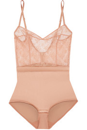 Charivari stretch-lace and silk-blend satin bodysuit