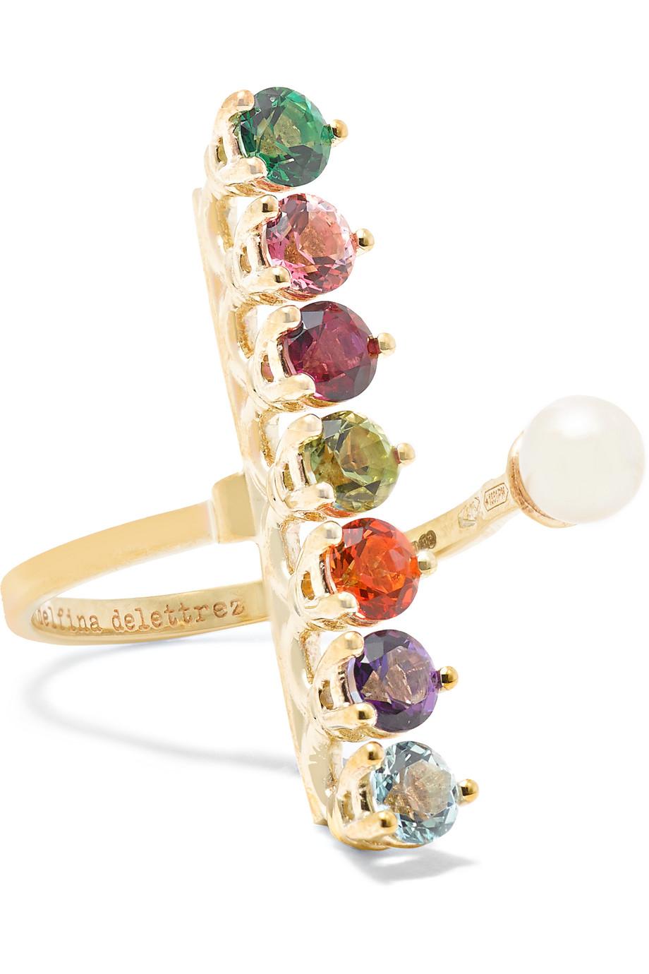 9-Karat Gold Multi-Stone Ring, Delfina Delettrez, Women's