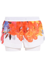 Adidas by Stella McCartney Floral-print Climalite® shell and stretch-jersey shorts