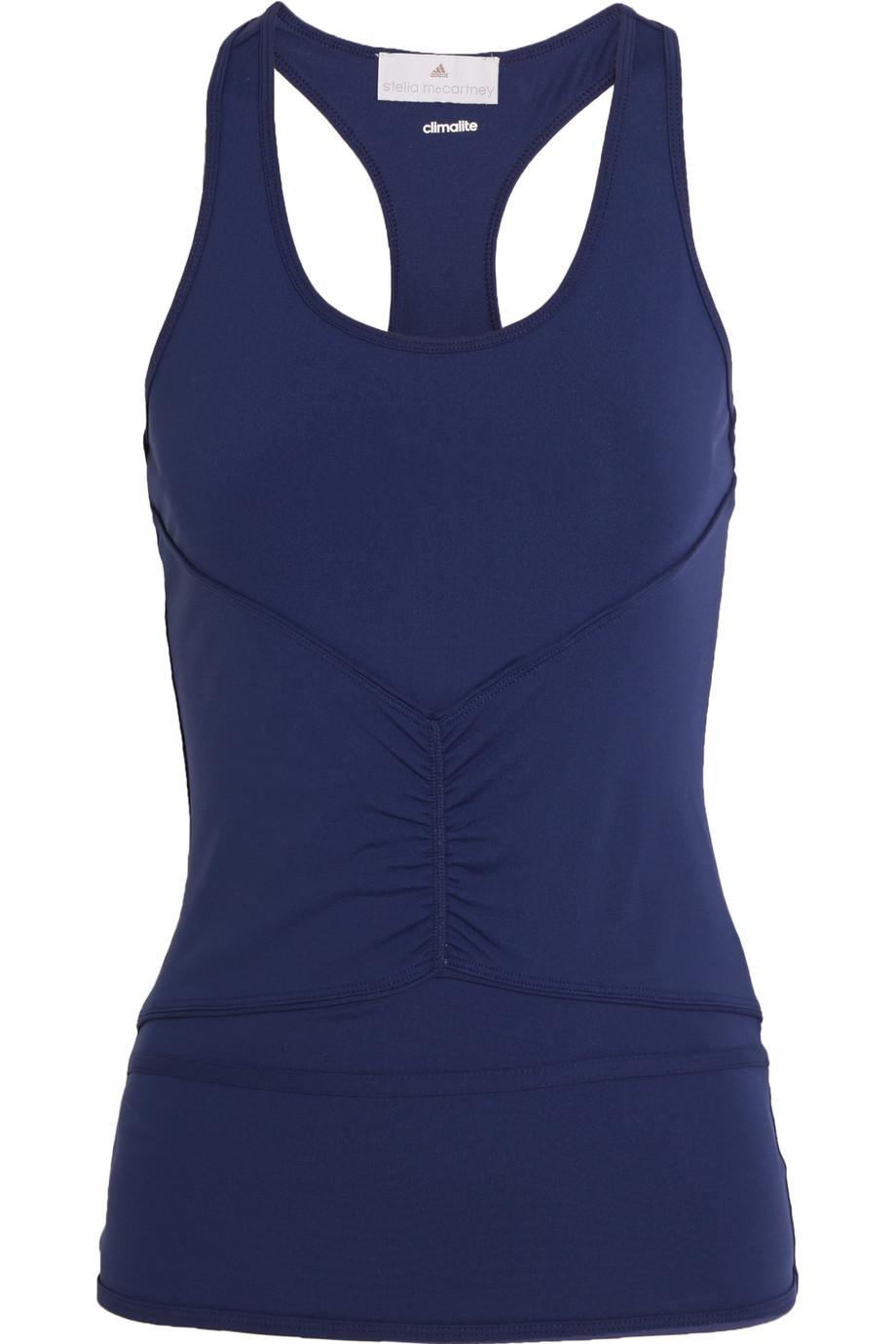 Ruched Climalite Stretch-Jersey Tank, Adidas by Stella Mccartney, Navy, Women's, Size: XS