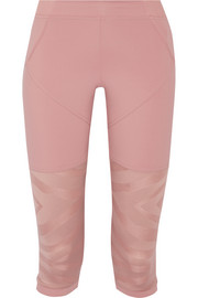 Adidas by Stella McCartney Cropped paneled stretch-jersey and mesh leggings