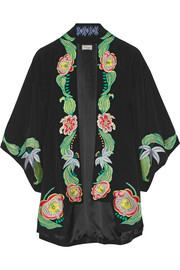 Carmelina embroidered silk crepe de chine kimono jacket