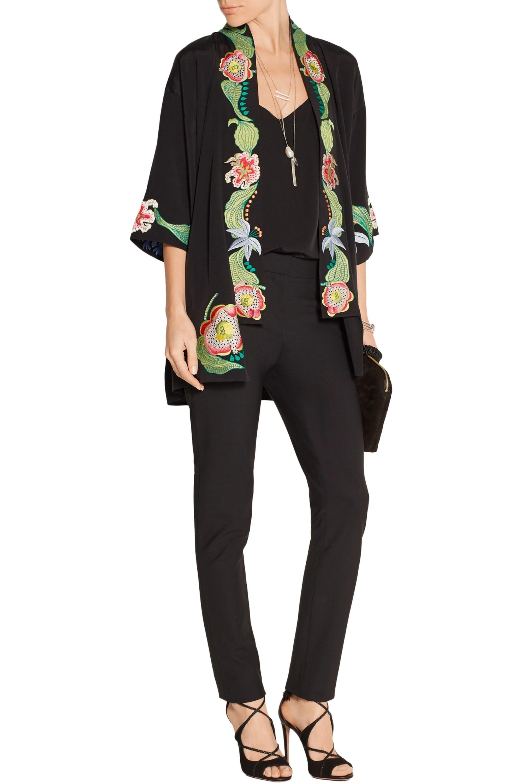 Temperley London Carmelina embroidered silk crepe de chine kimono jacket
