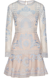 Delphia embroidered tulle and silk-blend organza mini dress