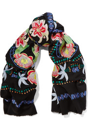 Carmelina embroidered wool scarf